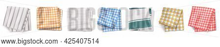 Kitchen Towel Or Tablecloth Top View. Folded Textile With Chequered And Lined Print. Picnic Napkin,