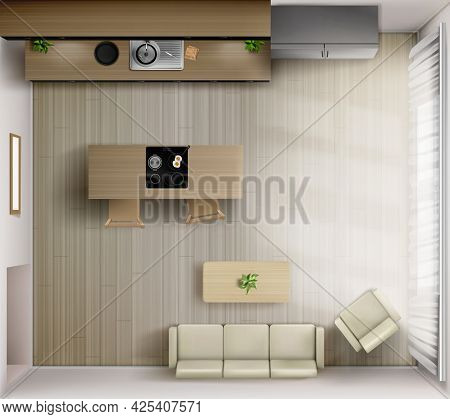 Studio Room Interior With Kitchen Top View. Sofa, Armchair And Coffee Table, Countertop With Sink, D