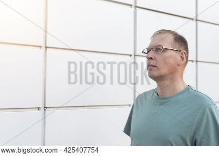 Man Looking Forward In Future Near Lined Wall. Watching Perspectives, Focusing, Making Plans And Str