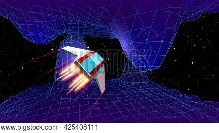 Arcade Space Ship Flying To The Cave Gateway In Blue Corridor 3d Landscape, 80s Style Synthwave Or R