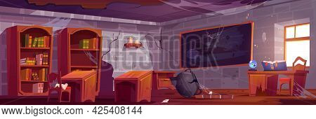 Abandoned Magic School, Empty Classroom Interior With Broken Furniture, Cracked Walls, Wooden Desks