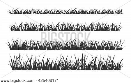 Black Silhouettes Of Grassland Lawn Field Border Flat Style Design Vector Illustration Set Isolated