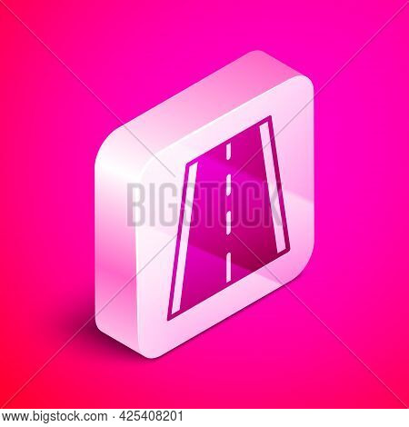 Isometric Special Bicycle Ride On The Bicycle Lane Icon Isolated On Pink Background. Silver Square B