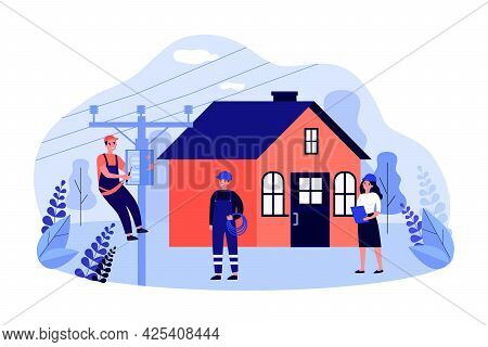 Electrician Repairing Power Box On Electric Pole Near House. Team Of Professional Technicians Flat V
