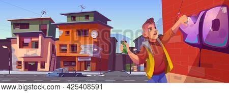 Man With Spray Draws Graffiti On Brick Wall In Ghetto Area. Vector Cartoon Cityscape With Poor Dirty