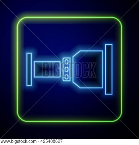 Glowing Neon Pipe Adapter Icon Isolated On Blue Background. Plumbing Pipeline Parts Of Different Sha
