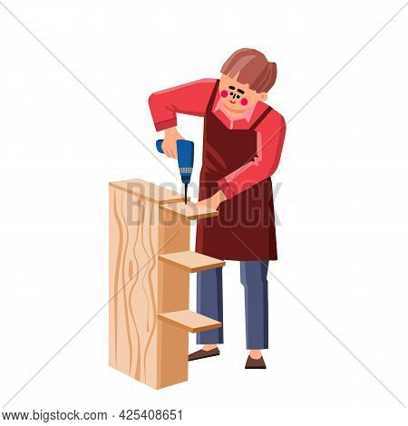 Handyman Assemble Furniture With Equipment Vector. Worker Man Assemble Furniture With Electronic Scr