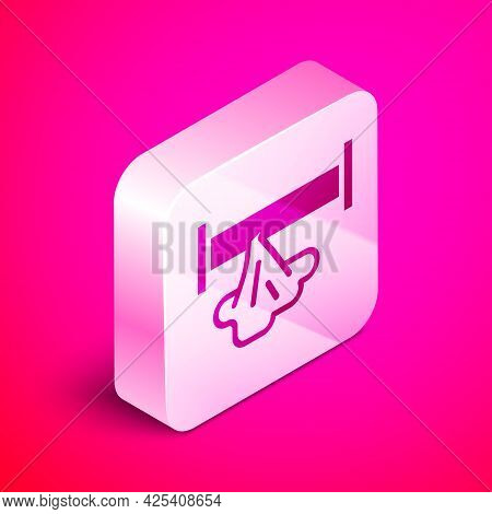 Isometric Broken Metal Pipe With Leaking Water Icon Isolated On Pink Background. Silver Square Butto