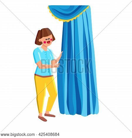 Woman Standing Near Beautiful Curtains Vector. Young Girl Staying Near Attractive Textile Curtains,