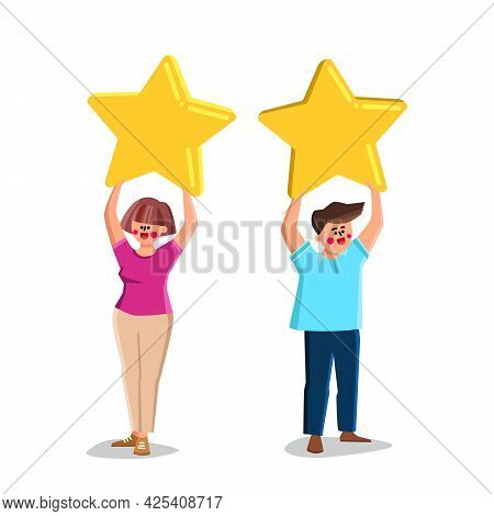 Boy And Girl Customer Reviews And Feedback Vector. Young Man And Woman Clients Holding Star And Rati