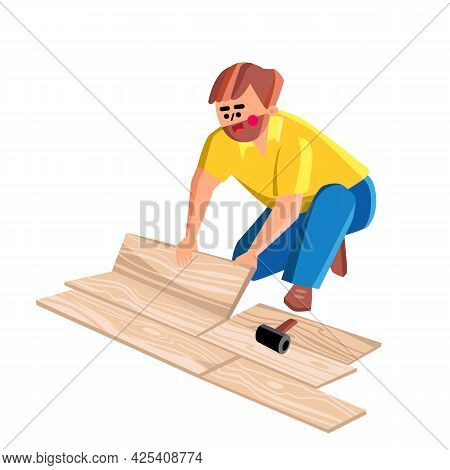 Floor Worker Lay Wooden Panel Of Laminate Vector. Floor Worker Man Laying Oak Wood Parquet, House Re