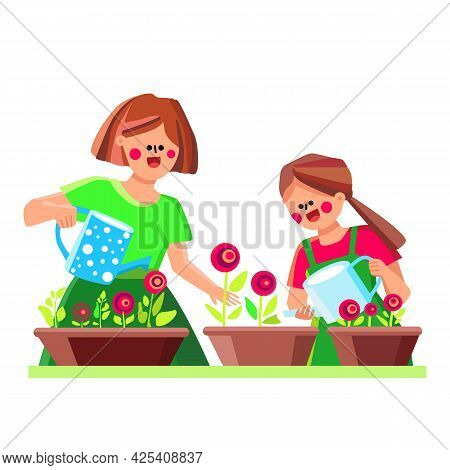 Indoor Plant Care Woman And Girl Together Vector. Mother And Daughter Watering With Can Natural Flor