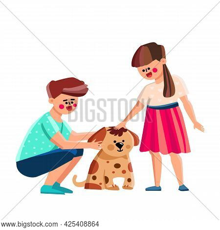 Boy And Girl Kids Petting Dog Together Vector. Brother And Sister Children Petting Dog Pet In Garden