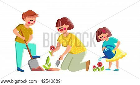 Mother With Son And Daughter Plant Flowers Vector. Woman And Children Planting Flowers In Garden. Ch