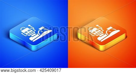 Isometric Robot Humanoid Driving A Car Icon Isolated On Blue And Orange Background. Artificial Intel