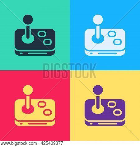 Pop Art Joystick For Arcade Machine Icon Isolated On Color Background. Joystick Gamepad. Vector