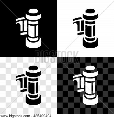 Set Camera Vintage Film Roll Cartridge Icon Isolated On Black And White, Transparent Background. 35m
