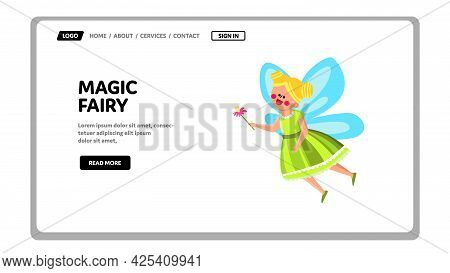 Magic Fairy Princess Flying With Flower Vector. Magic Fairy Girl Kid In Fashion Dress With Wings Fly