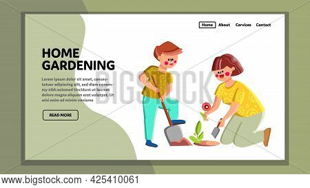 Home Gardening Son And Mother Together Vector. Boy With Shovel Helping And Assisting Woman Gardening