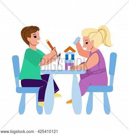 On Kid Furniture Play Little Boy And Girl Vector. Children Playing With Construction On Kid Furnitur