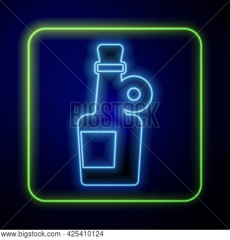 Glowing Neon Alcohol Drink Rum Bottle Icon Isolated On Blue Background. Vector