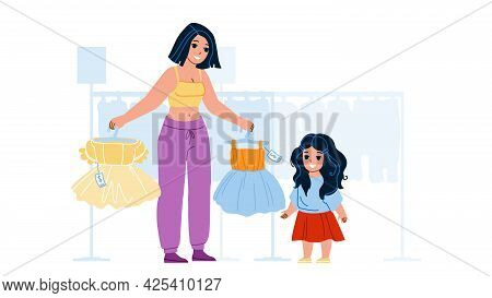 Girl Kid Shopping And Choose Dress In Store Vector. Mother And Kid Shopping In Shop And Choosing Bea