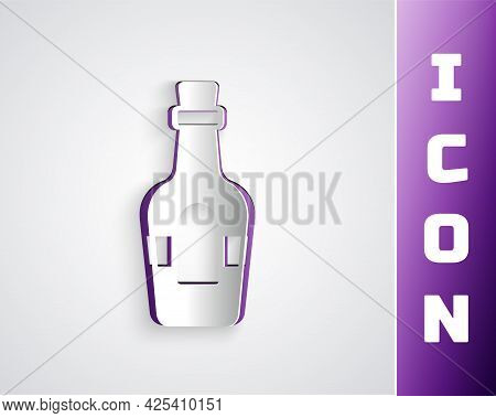 Paper Cut Alcohol Drink Rum Bottle Icon Isolated On Grey Background. Paper Art Style. Vector