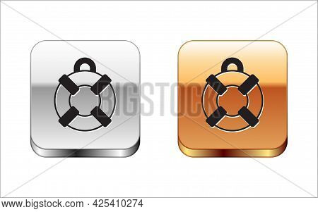 Black Lifebuoy Icon Isolated On White Background. Lifebelt Symbol. Silver And Gold Square Buttons. V