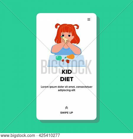Girl On Kid Diet And Eating Vitamin Fruits Vector. Preschool Lady On Kid Diet And Eat Healthy Natura