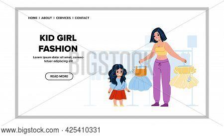 Kid Girl Choosing Fashion Dress In Store Vector. Kid Girl Choose Fashionable Clothes In Clothing Sho