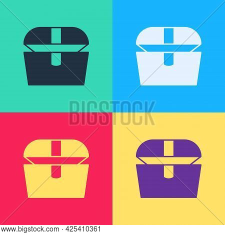 Pop Art Antique Treasure Chest Icon Isolated On Color Background. Vintage Wooden Chest With Golden C