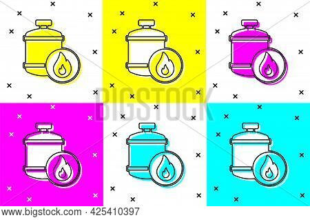 Set Propane Gas Tank Icon Isolated On Color Background. Flammable Gas Tank Icon. Vector