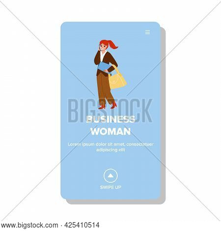 Business Woman Talk With Partner On Phone Vector. Business Woman Holding Document Folder And Bag, Ta