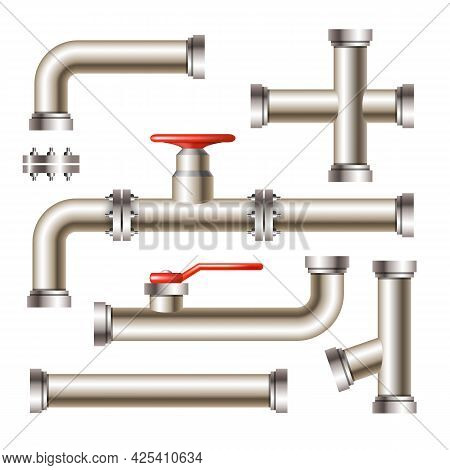 Pipeline With Gate Valve And Faucet Set Vector. Collection Of Steel Metal Water, Oil Or Gas Pipeline