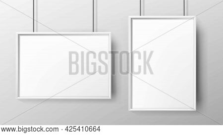 Posters Blank Promo Paper With Frame Set Vector. Hanging Vertical And Horizontal Marketing Posters L