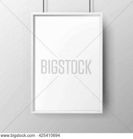 Poster Blank Advertising Paper With Frame Vector. Hanging On Wall Poster, Street Or Underground Mark