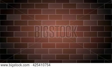Brick Wall Background Cement Relief Texture Vector. Old Red Building Brick Wall Design Parchment Dec