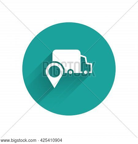 White Delivery Tracking Icon Isolated With Long Shadow Background. Parcel Tracking. Green Circle But