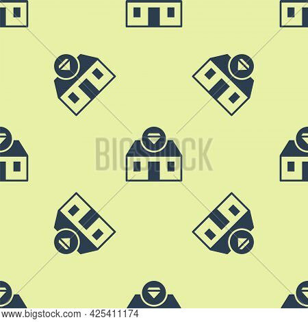 Blue Front Facade Building Jewelry Store Icon Isolated Seamless Pattern On Yellow Background. Vector