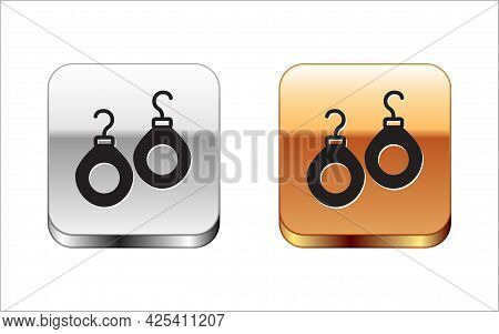 Black Earrings Icon Isolated On White Background. Jewelry Accessories. Silver And Gold Square Button
