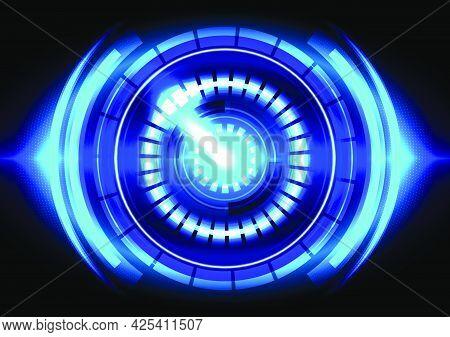 Blue Light. Abstract Hi-tech Background. Futuristic Interface. Virtual Reality Technology Screen