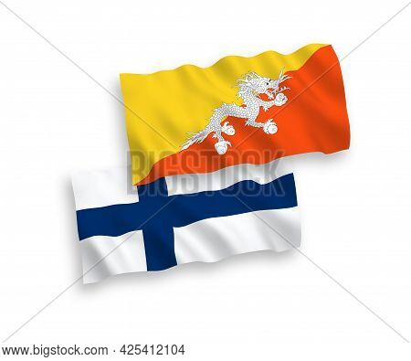 National Fabric Wave Flags Of Finland And Kingdom Of Bhutan Isolated On White Background. 1 To 2 Pro