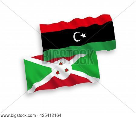 National Fabric Wave Flags Of Burundi And Libya Isolated On White Background. 1 To 2 Proportion.