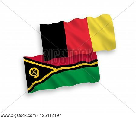 National Fabric Wave Flags Of Republic Of Vanuatu And Belgium Isolated On White Background. 1 To 2 P