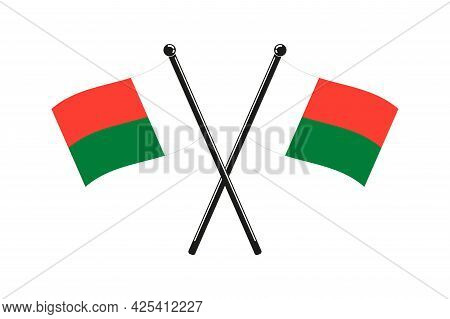National Flags Of Republic Of Madagascar In The Original Colours Crossed On The Sticks