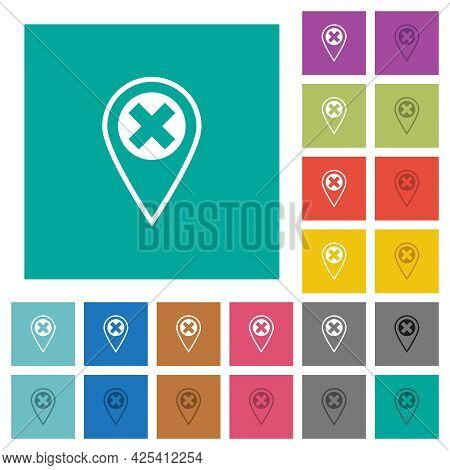 Gps Location Cancel Multi Colored Flat Icons On Plain Square Backgrounds. Included White And Darker