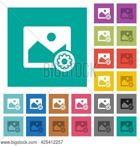 Image Settings Multi Colored Flat Icons On Plain Square Backgrounds. Included White And Darker Icon