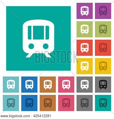 Train Multi Colored Flat Icons On Plain Square Backgrounds. Included White And Darker Icon Variation