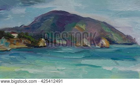 Sea Mountains Oil Painting. An Original Sketch From Nature. The Famous Mountain Bear Crimea Gurzuf.