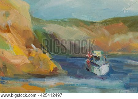 Sea Mountains Oil Painting. An Original Sketch From Nature. The Ship Is Floating On Turquoise Water.
